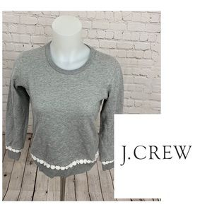 J. Crew Heather Gray Lace Detail Sweater